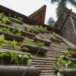 Căn nhà được xây dựng và bên ngoài được óp tre trang trí tự nhiên